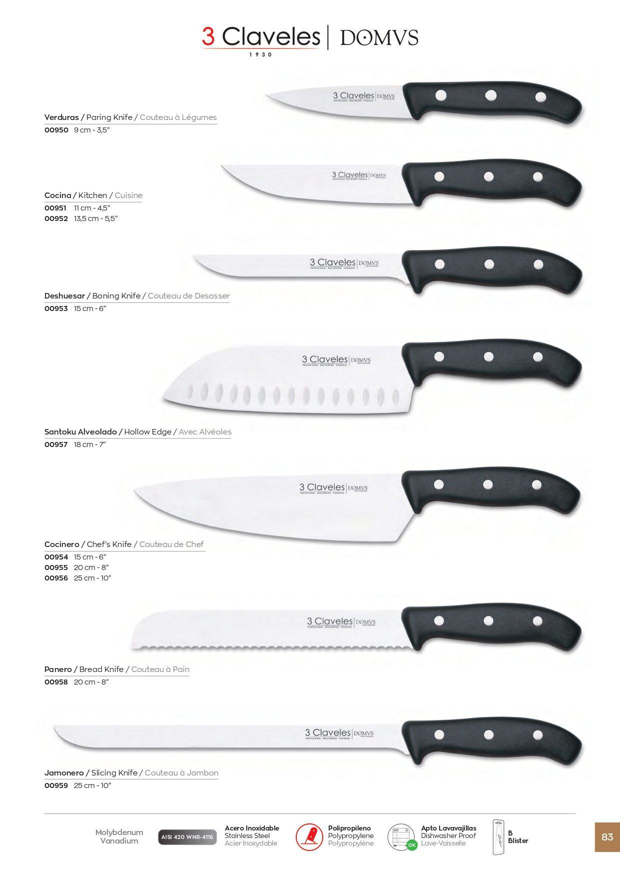 coutellerie professionnelle cuisiner cuchillos cocina domws 3 claveles couteaux gros. Black Bedroom Furniture Sets. Home Design Ideas