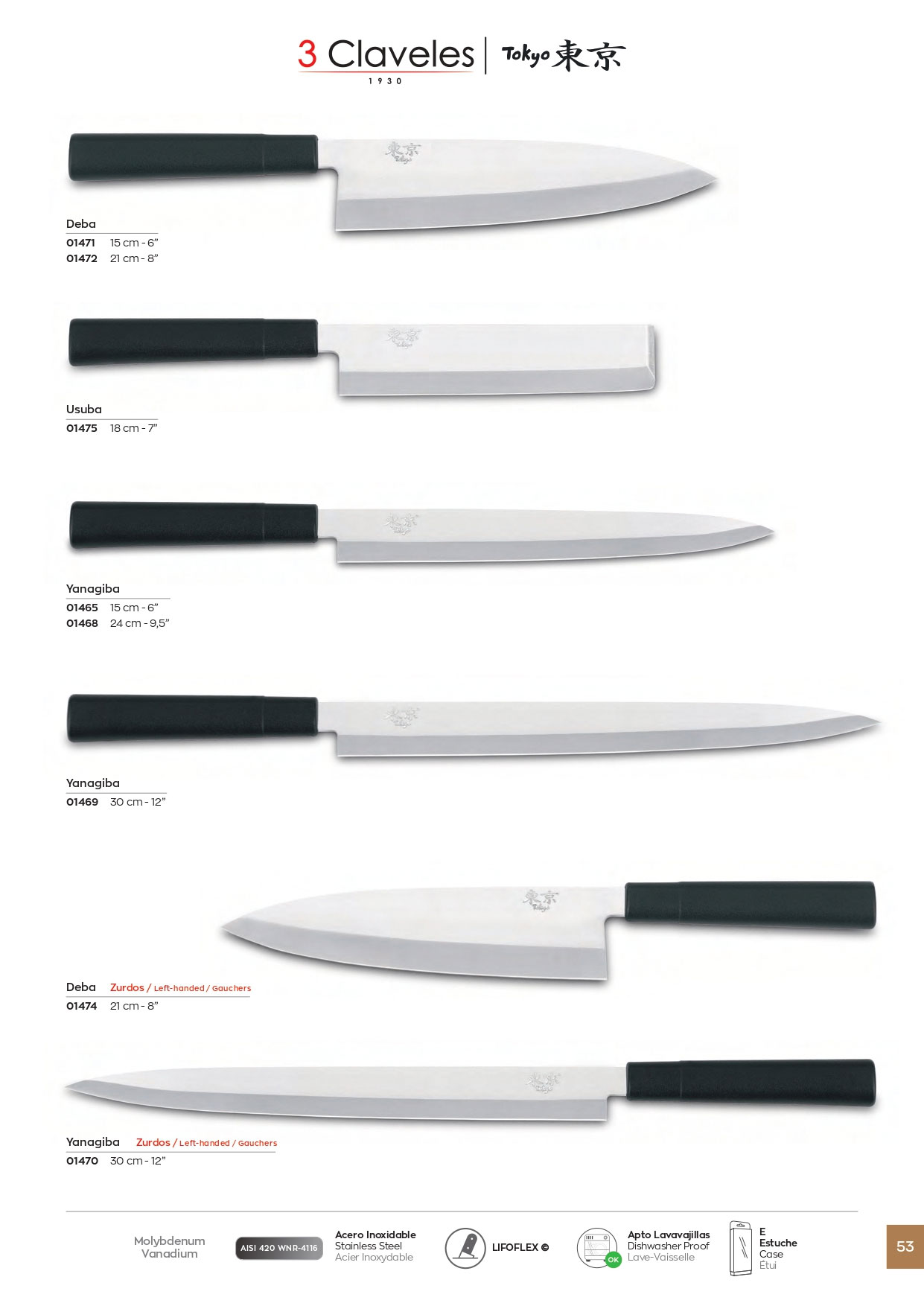 1475 cuchillos cocina tokyo 3 claveles cuchilleria for Cuchilleria profesional cocina