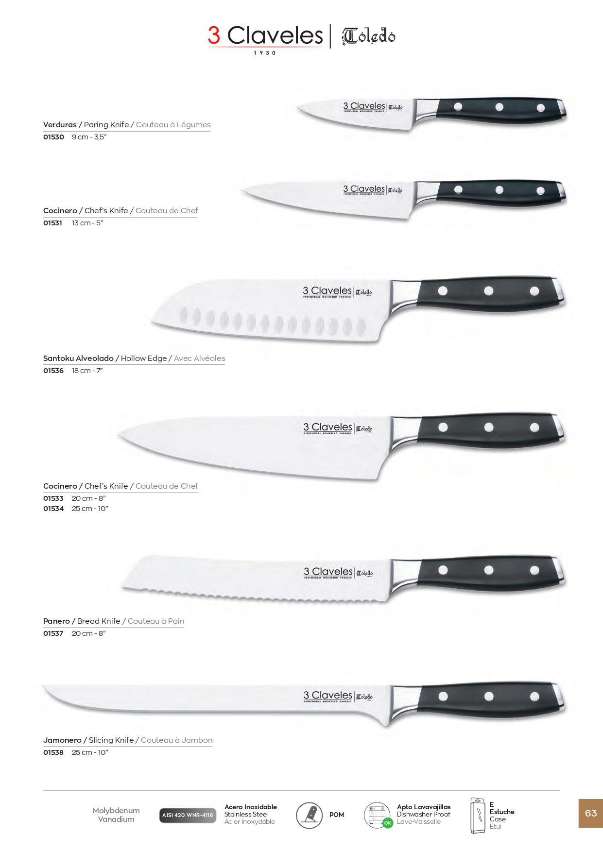 1538 cuchillos cocina toledo 3 claveles cuchilleria for Cuchilleria profesional cocina