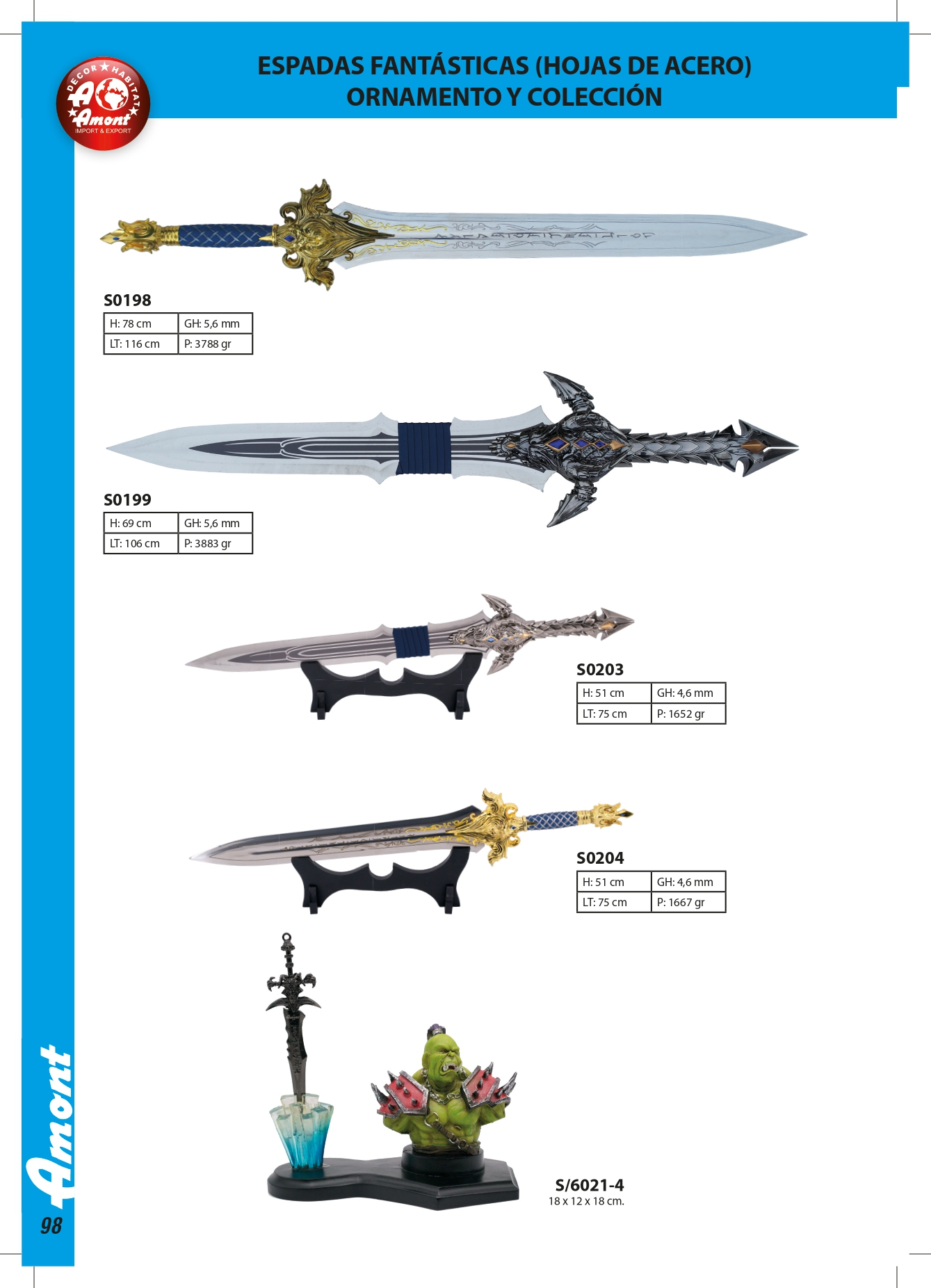 Wow Decoration Swords Amont Swords Fantasy Knives S0204 Cutlery
