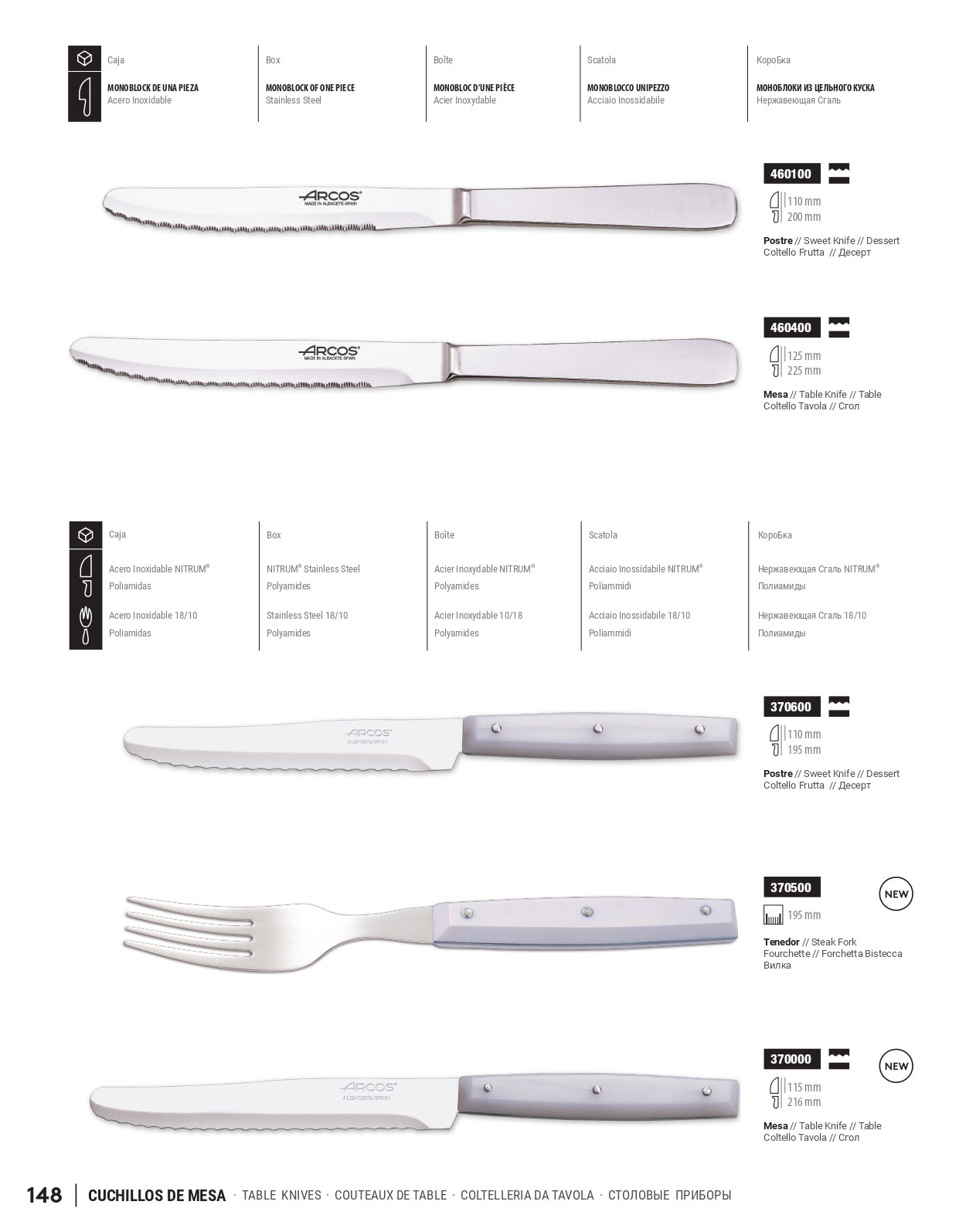805109 cuchillos de mesa arcos menaje cocina cubiertos for Clases de cuchillos de mesa