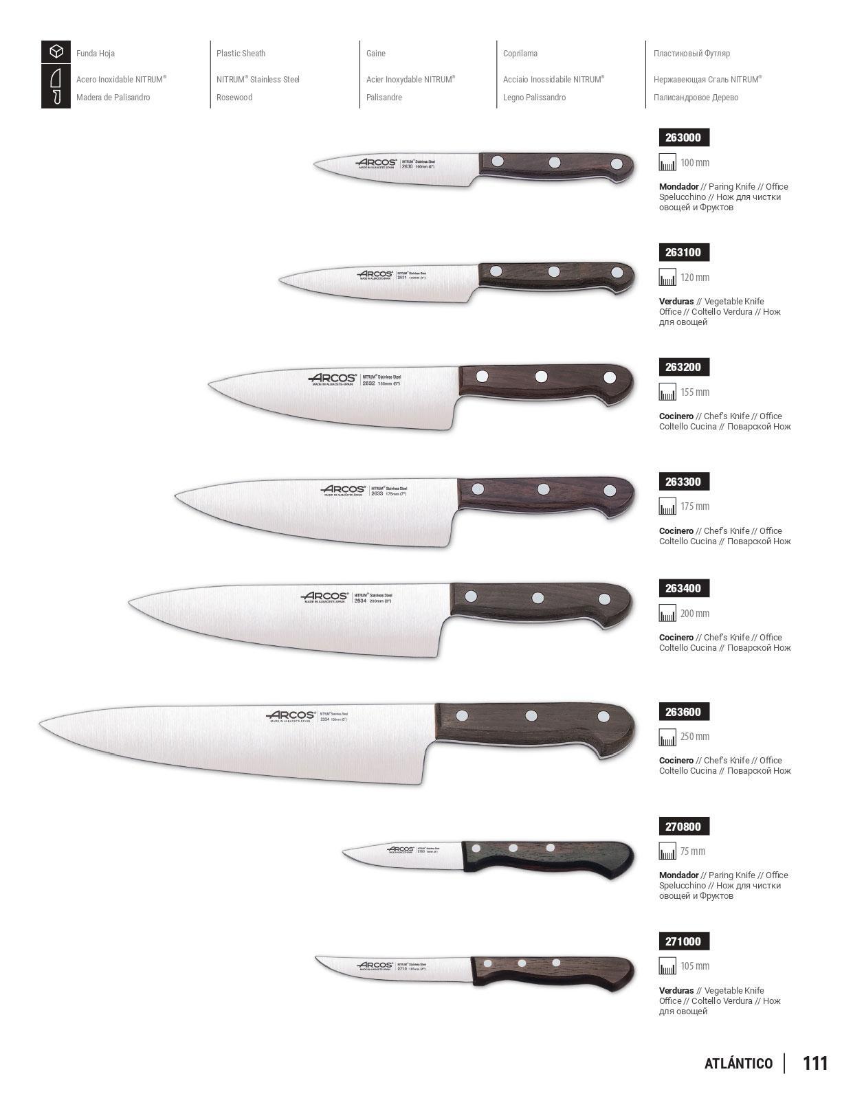 Cuchilleria profesional cocinero cuchillos de cocina palisandro arcos cuchilleria albacete - Cuchillos de cocina arcos ...