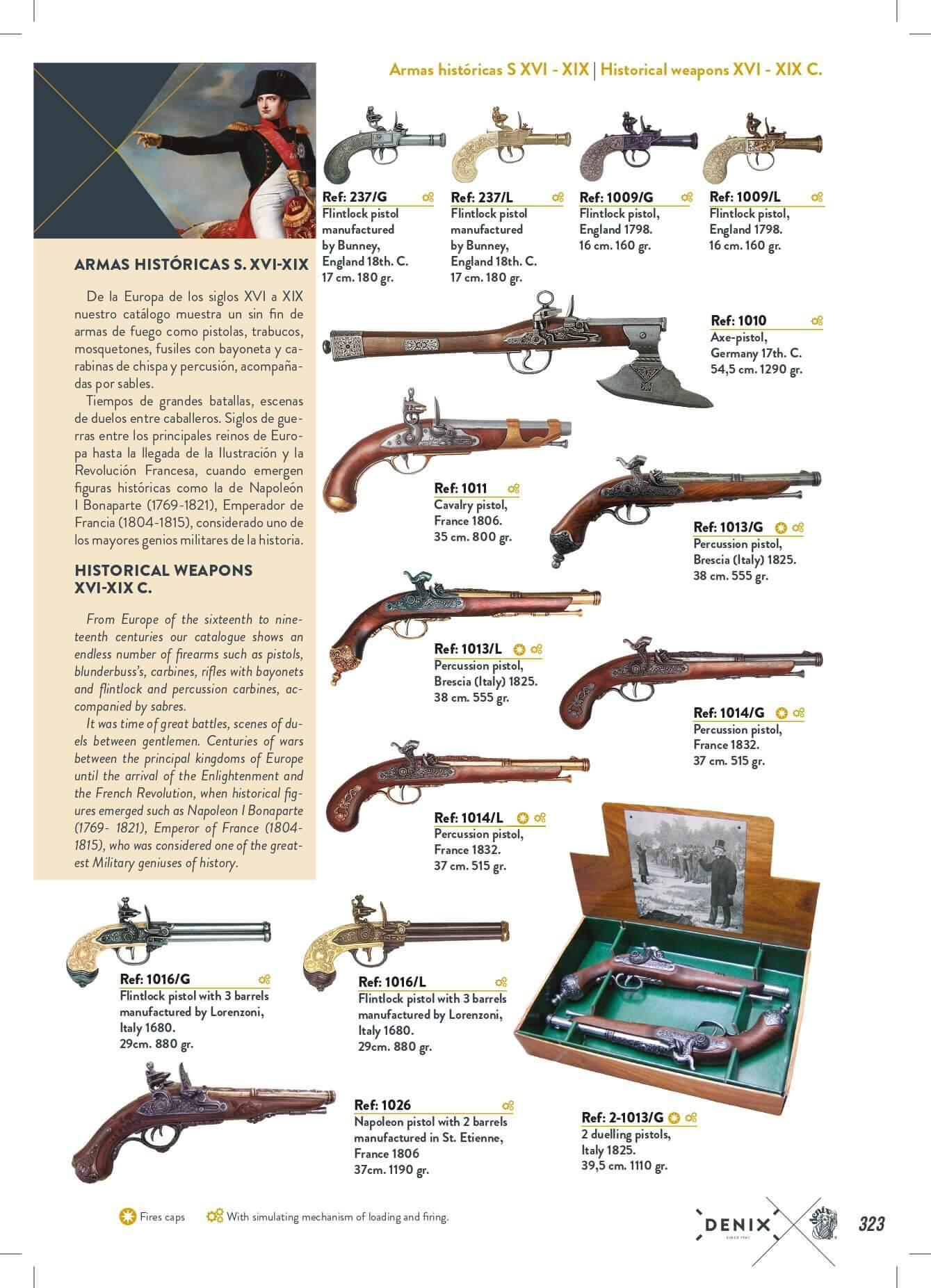 HISTORICAL GUNS S  XVI-XIX 🔪 Denix - arms antique replicas