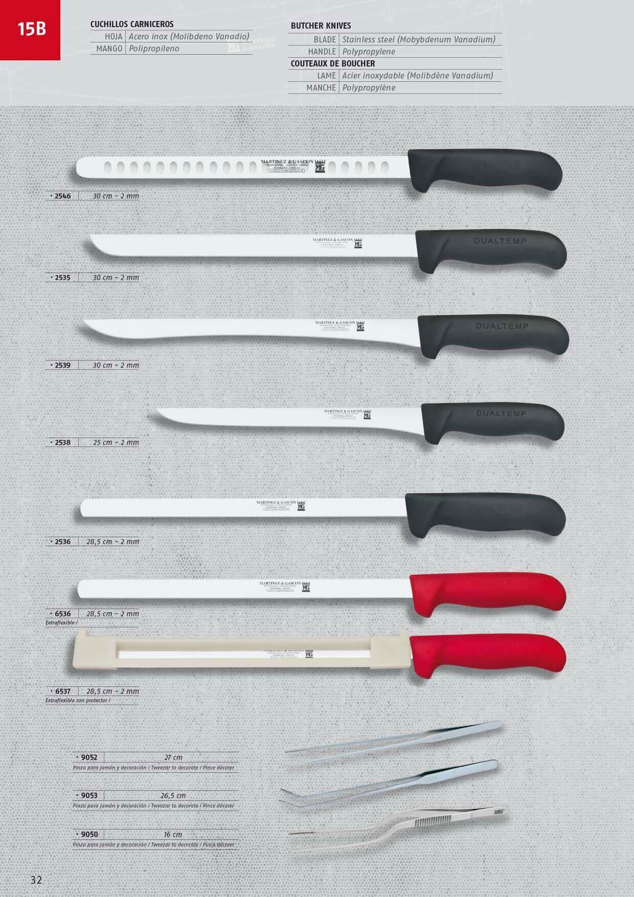 9053 cuchillos jamon y salmon martinez gascon for Cuchilleria profesional cocina