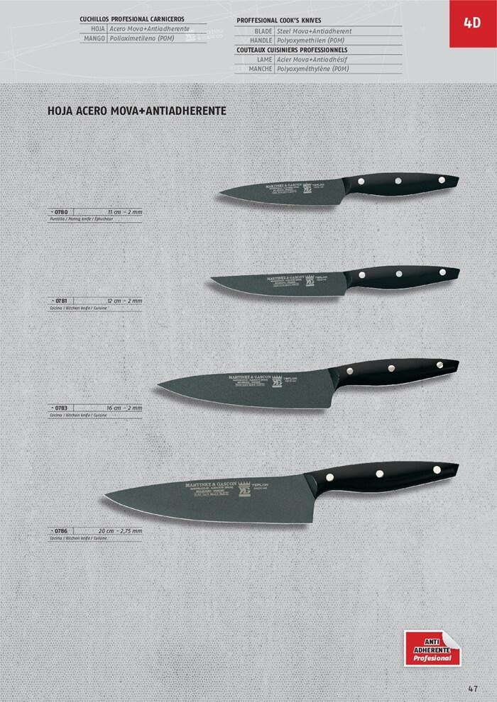 cuchilleria profesional cocina 0786 cuchillos cocinero teflon martinez gascon