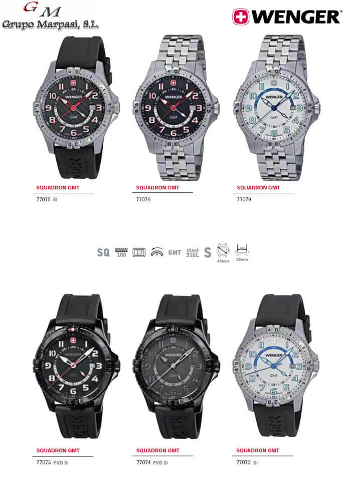 77079 - SQUADRON GMT WATCHES WENGER - objects personal watches - Cutlery 20a11cdf62