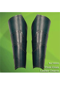 swords accessories ELVEN GREEN LEATHER GREAVES